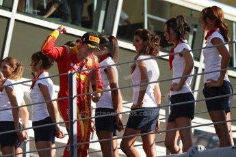 World © Octane Photographic Ltd. GP2 Italian GP, Monza, Saturday 7th September 2013. Race 1. Fabio Leimer (winner) celebrates on his way to the podium - Racing Engineering. Digital Ref: