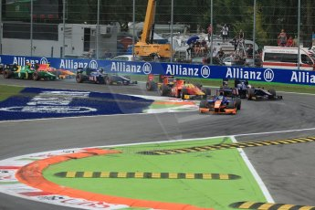 World © Octane Photographic Ltd. GP2 Italian GP, Monza, Sunday 8th September 2013. Race 2. Adrian Quaife-Hobbs leads the pack at the race start - Hilmer Motorsport. Digital Ref :