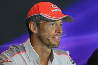 World © Octane Photographic Ltd. F1 Italian GP - Monza, Thursday 5th September 2013 - FIA Press Conference. Vodafone McLaren Mercedes MP4/28 - Jenson Button. Digital Ref : 0809lw1d1157