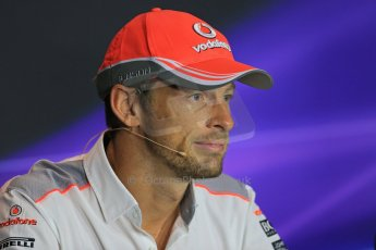 World © Octane Photographic Ltd. F1 Italian GP - Monza, Thursday 5th September 2013 - FIA Press Conference. Vodafone McLaren Mercedes MP4/28 - Jenson Button. Digital Ref : 0809lw1d1171