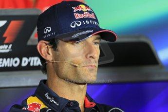 World © Octane Photographic Ltd. F1 Italian GP - Monza, Thursday 5th September 2013 - FIA Press Conference. Infiniti Red Bull Racing RB9 - Mark Webber. Digital Ref : 0809lw1d1180