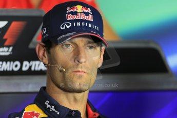 World © Octane Photographic Ltd. F1 Italian GP - Monza, Thursday 5th September 2013 - FIA Press Conference. Infiniti Red Bull Racing RB9 - Mark Webber. Digital Ref : 0809lw1d1288
