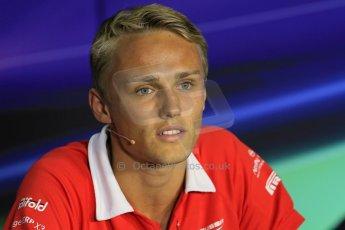 World © Octane Photographic Ltd. F1 Italian GP - Monza, Thursday 5th September 2013 - FIA Press Conference. Marussia F1 Team MR02 - Max Chilton. Digital Ref : 0809lw1d1372