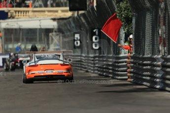 World © Octane Photographic Ltd. Monaco – Monte Carlo – Porsche Mobil 1 Supercup. Johnston - Tolimit Motorsport passes the red flag. Friday 24th May 2013. Digital Ref :