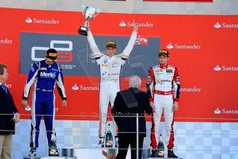 World © Octane Photographic Ltd./Chris Enion. Saturday 30th June 2013 Dallara GP3/13 - British GP - Silverstone - Race 2 Podium. Giovanni Venturini, Alex Fontana and Nick Yelloly on the podium. Digital ref : 0736ce1d9222