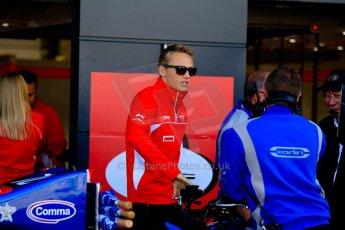 World © Octane Photographic Ltd./Chris Enion. Saturday 30th June 2013 Dallara GP3/13 - British GP - Silverstone - Race 2 Podium. Max Chilton (Marussia F1) chats to the Carlin GP3 squad in the pitlane. Digital ref : 0736ce1d9267
