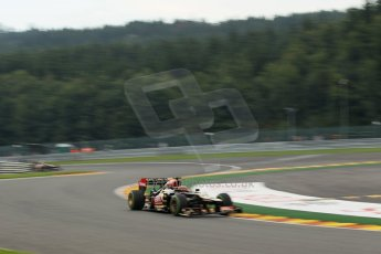 World © Octane Photographic Ltd. F1 Belgian GP - Spa - Francorchamps. Thursday. 25th July 2013. Practice 1. Lotus F1 Team E21 - Kimi Raikkonen followed by his team mate Romain Grosjean. Digital Ref : 0784lw1d4752
