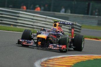 World © Octane Photographic Ltd. F1 Belgian GP - Spa - Francorchamps. Friday 23rd August 2013. Practice 1. Infiniti Red Bull Racing RB9 - Mark Webber. Digital Ref : 0784lw1d7262