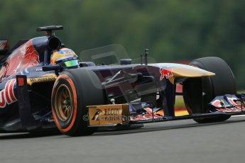 World © Octane Photographic Ltd. F1 Belgian GP - Spa - Francorchamps. Friday 23rd August 2013. Practice 1. Scuderia Toro Rosso STR8 - Jean-Eric Vergne. Digital Ref : 0784lw1d7525