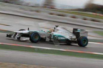 World © Octane Photographic Ltd. Formula 1 Winter testing, Barcelona – Circuit de Catalunya, 28th February 2013. Mercedes AMG Petronas  F1 W04 – Lewis Hamilton. Digital Ref: