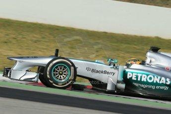 World © Octane Photographic Ltd. Formula 1 Winter testing, Barcelona – Circuit de Catalunya, 2nd March 2013. Mercedes AMG Petronas  F1 W04 – Lewis Hamilton. Digital Ref: 0583lw1d9130