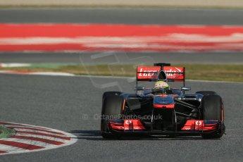 World © Octane Photographic Ltd. Formula 1 Winter testing, Barcelona – Circuit de Catalunya, 2nd March 2013. Vodafone McLaren Mercedes MP4/28. Sergio Perez. Digital Ref: 0583lw1d9395