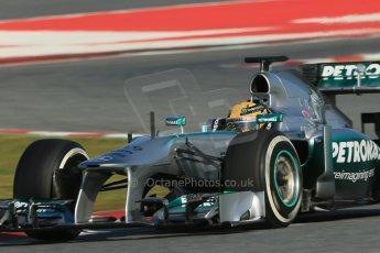 World © Octane Photographic Ltd. Formula 1 Winter testing, Barcelona – Circuit de Catalunya, 2nd March 2013. Mercedes AMG Petronas  F1 W04 – Lewis Hamilton. Digital Ref: 0583lw1d9803