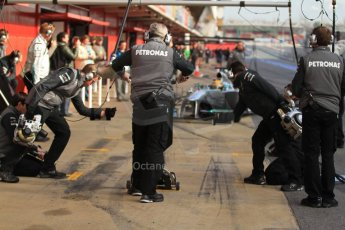 World © Octane Photographic Ltd. Formula 1 Winter testing, Barcelona – Circuit de Catalunya, 2nd March 2013. Mercedes AMG Petronas  F1 W04 – Lewis Hamilton pulls into his pitbox. Digital Ref: 0583lw7d0667