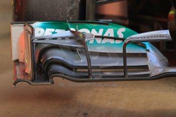 World © Octane Photographic Ltd. Formula 1 Winter testing, Barcelona – Circuit de Catalunya, 2nd March 2013. Mercedes AMG Petronas  F1 W04 front wing detail – Lewis Hamilton. Digital Ref: 0583lw7d0688