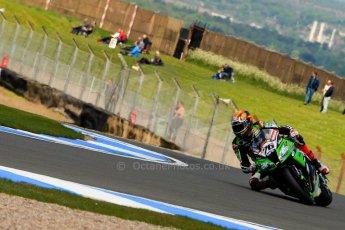 World © Octane Photographic Ltd. World Superbikes (SBK) European GP – Donington Park – Qualifying Practice. Kawasaki Racing Team – Kawasaki ZX-10R – Loris Baz. Saturday 25th May 2013. Digital Ref :