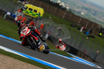 World © Octane Photographic Ltd. World Superbikes (SBK) European GP – Donington Park – Qualifying Practice. Aprilia Racing Team – Aprilia RSV4 Factory – Sylvain Guintoli and Red Devils Roma – Aprilia RSV4 Factory – Michel Fabrizio. . Saturday 25th May 2013. Digital Ref :