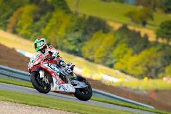 World © Octane Photographic Ltd. World Superbikes (SBK) European GP – Donington Park – Qualifying Practice. Althea Racing – Aprilia RSV4 Factory – Davide Giugliano. Saturday 25th May 2013. Digital Ref :