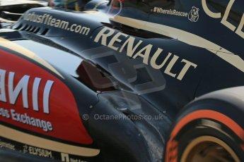 World © Octane Photographic Ltd. Formula 1 - Young Driver Test - Silverstone. Thursday 18th July 2013. Day 2. Lotus F1 Team E21 #WhereIsRoscoe. Digital Ref : 0753lw1d9106