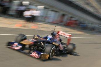World © Octane Photographic Ltd. Formula 1 - Young Driver Test - Silverstone. Thursday 18th July 2013. Day 2. Scuderia Toro Rosso STR8 - Daniel Ricciardo. Digital Ref : 0753lw1d9117