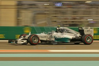 World © Octane Photographic Ltd. Friday 21st November 2014. Abu Dhabi Grand Prix - Yas Marina Circuit - Formula 1 Practice 2. Mercedes AMG Petronas F1 W05 - Nico Rosberg. Digital Ref: 1161CB1D7187