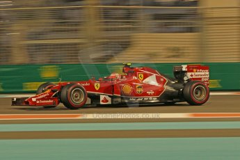 World © Octane Photographic Ltd. Friday 21st November 2014. Abu Dhabi Grand Prix - Yas Marina Circuit - Formula 1 Practice 2. Scuderia Ferrari F14T – Kimi Raikkonen. Digital Ref: 1161CB1D7213