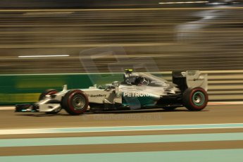 World © Octane Photographic Ltd. Friday 21st November 2014. Abu Dhabi Grand Prix - Yas Marina Circuit - Formula 1 Practice 2. Mercedes AMG Petronas F1 W05 - Nico Rosberg. Digital Ref: 1161CB1D7285