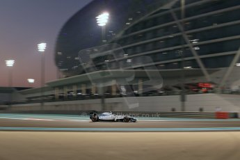 World © Octane Photographic Ltd. Friday 21st November 2014. Abu Dhabi Grand Prix - Yas Marina Circuit - Formula 1 Practice 2. Williams Martini Racing FW36 – Valtteri Bottas. Digital Ref: 1161LB1D5156