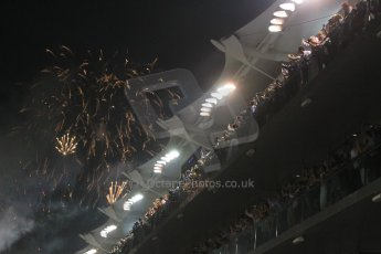 World © Octane Photographic Ltd. Sunday 23rd November 2014. Abu Dhabi Grand Prix - Yas Marina Circuit - Formula 1 Podium. Post Race fireworks. Digital Ref: 1173CB1D0127
