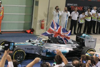 World © Octane Photographic Ltd. Sunday 23rd November 2014. Abu Dhabi Grand Prix - Yas Marina Circuit - Formula 1 Podium. Mercedes AMG Petronas – Lewis Hamilton - Race winner and 2014 World Champion. Digital Ref: 1173CB1D0345