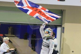 World © Octane Photographic Ltd. Sunday 23rd November 2014. Abu Dhabi Grand Prix - Yas Marina Circuit - Formula 1 Podium. Mercedes AMG Petronas – Lewis Hamilton - Race winner and 2014 World Champion. Digital Ref: 1173CB1D0426