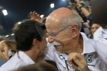 World © Octane Photographic Ltd. Sunday 23rd November 2014. Abu Dhabi Grand Prix - Yas Marina Circuit - Formula 1 Podium. Mercedes AMG Petronas – Toto Wolff and Dieter Zetsche. Digital Ref: 1173LB1D7561