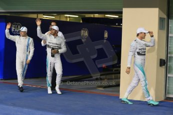 Mercedes AMG Petronas - Lewis Hamilton and Nico Rosberg and Williams Racing - Valtteri Bottas. Digital Ref : 1166LB1D1571