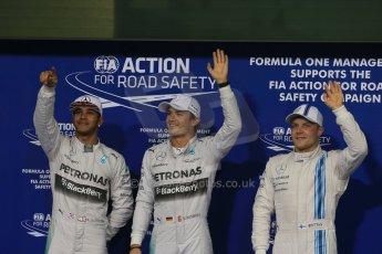 Mercedes AMG Petronas - Lewis Hamilton and Nico Rosberg and Williams Racing - Valtteri Bottas. Digital Ref : 1166LB1D1580