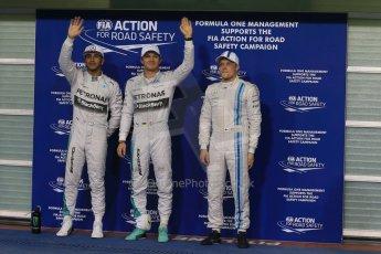 Mercedes AMG Petronas - Lewis Hamilton and Nico Rosberg and Williams Racing - Valtteri Bottas. Digital Ref : 1166LB1D1595