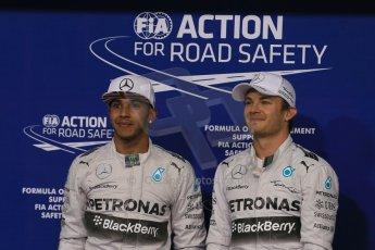 World © Octane Photographic Ltd. 2014 Formula 1 Abu Dhabi Grand Prix, F1 Qualifying, Saturday 22nd November 2014. Mercedes AMG Petronas - Lewis Hamilton and Nico Rosberg. Digital Ref : 1166LB1D1597