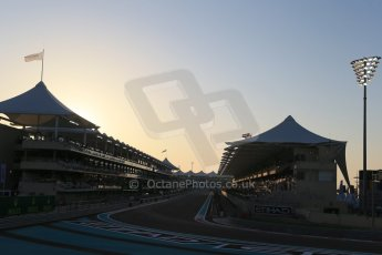 World © Octane Photographic Ltd. Saturday 22nd November 2014. Abu Dhabi Grand Prix - Yas Marina Circuit - Formula 1 Qualifying. 1st corner at Sunset Digital Ref: 1166LB1D6025