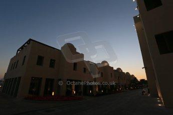 World © Octane Photographic Ltd. 2014 Formula 1 Abu Dhabi Grand Prix, F1 Qualifying, Saturday 22nd November 2014. F1 paddock at dusk Digital Ref : 1166LB1D6080