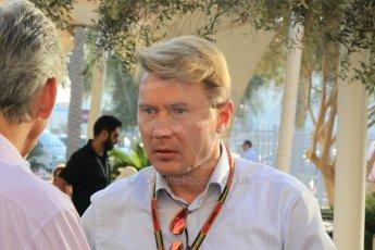 World © Octane Photographic Ltd. Sunday 23rd November 2014. Abu Dhabi Grand Prix - Yas Marina Circuit - Formula 1 Race. Mika Hakkinen in the Paddock. Digital Ref: