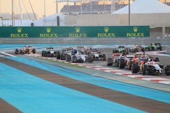 World © Octane Photographic Ltd. Sunday 23rd November 2014. Abu Dhabi Grand Prix - Yas Marina Circuit - Formula 1 Race. Opening Lap. Digital Ref: