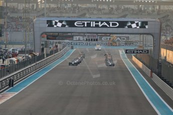 World © Octane Photographic Ltd. Sunday 23rd November 2014. Abu Dhabi Grand Prix - Yas Marina Circuit - Formula 1 Race. The grid forms up for the last race of the year. Digital Ref: