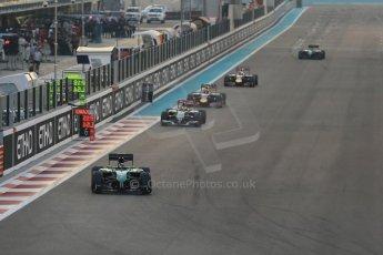 World © Octane Photographic Ltd. Sunday 23rd November 2014. Abu Dhabi Grand Prix - Yas Marina Circuit - Formula 1 Race. Caterham F1 Team CT05 – Kamui Kobayashi, Sauber C33 – Adrian Sutil and Infiniti Red Bull Racing RB10 – Daniel Ricciardo. Digital Ref:
