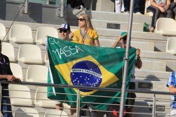 World © Octane Photographic Ltd. Sunday 23rd November 2014. Abu Dhabi Grand Prix - Yas Marina Circuit - Felipe Massa Fans in the grandstand. Digital Ref: