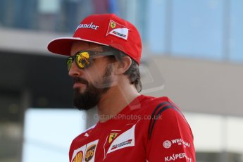 World © Octane Photographic Ltd. Sunday 23rd November 2014. Abu Dhabi Grand Prix - Yas Marina Circuit - Formula 1 Drivers Parade. Scuderia Ferrari - Fernando Alonso. Digital Ref: