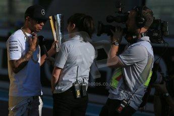 World © Octane Photographic Ltd. Sunday 23rd November 2014. Abu Dhabi Grand Prix - Yas Marina Circuit - Pirelli Fastest Lap award, Lewis Hamilton. Digital Ref: