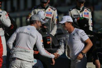 World © Octane Photographic Ltd. Sunday 23rd November 2014. Abu Dhabi Grand Prix - Yas Marina Circuit - End of season Formula 1 Drivers line up, Jenson Button and Nico Rosberg. Digital Ref: