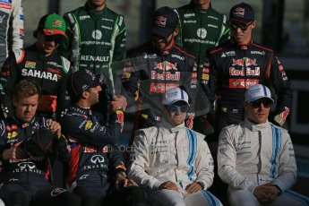 World © Octane Photographic Ltd. Sunday 23rd November 2014. Abu Dhabi Grand Prix - Yas Marina Circuit - End of season Formula 1 Drivers line up, Perez - Sahara Force India, Vergne and Kvyat - Toro Rosso, Vettel and Ricciardo - Infiniti Red Bull Racing and  Massa and Bottas - Williams Racing. Digital Ref: