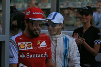 World © Octane Photographic Ltd. Sunday 23rd November 2014. Abu Dhabi Grand Prix - Yas Marina Circuit - Formula 1 Drivers Parade. Scuderia Ferrari - Fernando Alonso and Williams Racing - Felipe Massa. Digital Ref: