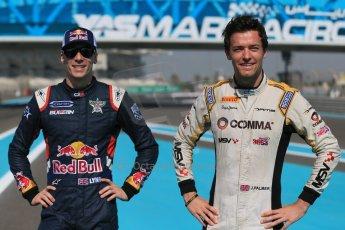 World © Octane Photographic Ltd. Sunday 23rd November 2014. Abu Dhabi Grand Prix - GP2 and GP3 champions photo shoot. Alex Lynn - Carlin - GP3 Champion and Jolyon Palmer - DAMS - GP2 Champion. Digital Ref: 1168CB1D6412