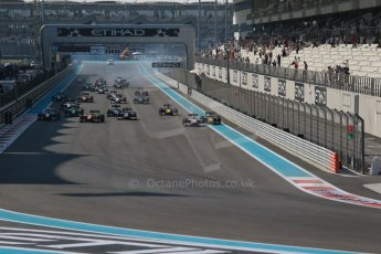 World © Octane Photographic Ltd. Sunday 23rd November 2014. GP2 Race 2 – Abu Dhabi GP - Yas Marina Circuit, United Arab Emirates. Race start. Digital Ref :1170CB1D6950